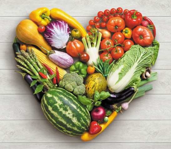 Heart symbol. Vegetables diet concept.